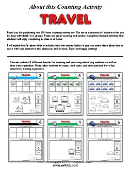Math Center 10 Frame Travel Themed Counting