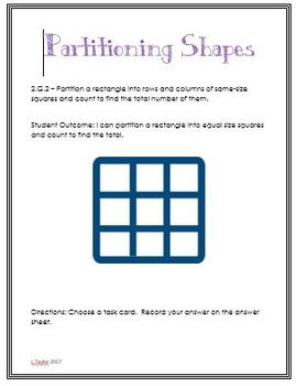 Math Center 2.G.2 Partitioning Shapes