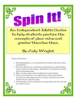 Math Center: 4 Digit Greater Than/Less Than
