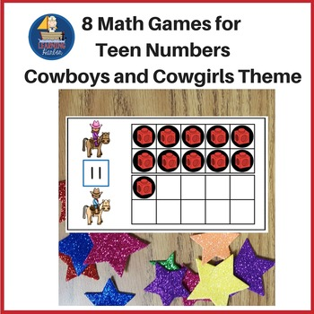 Math Center 8 Games for Teen Numbers,Cowboys and Cowgirls Theme