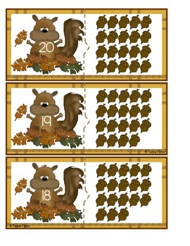 Math Center Acorn Count Puzzle Cards - counting 0-20