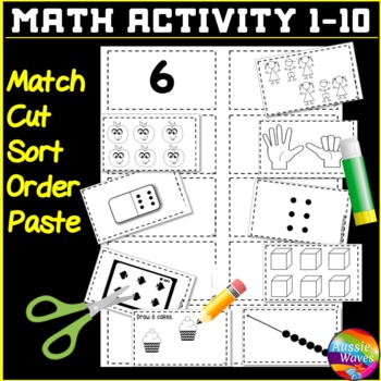 Kinder Yr 1 Math Center Activities Counting Numbers 1-10 Boards & Matching Cards