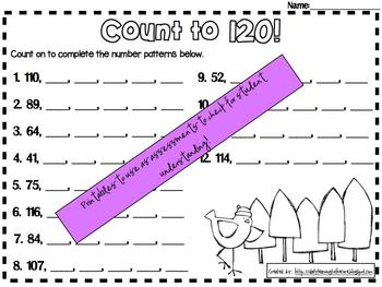 Counting to 100 and 120 Math Center