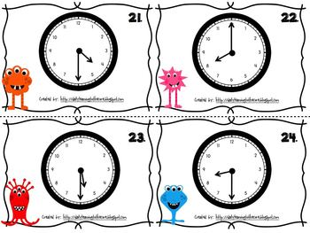 Telling Time to the Hour and Half Hour Math Center