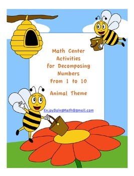 Math Center Activities for Decomposing Numbers: Animal Theme