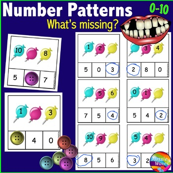 Printable Math Activity Counting Numbers 0-10 Missing Number Patterns CANDY