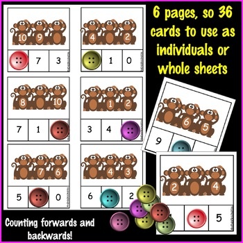 Printable Math Center Activity Using Numbers 0-10 Missing Number Pattern MONKEYS