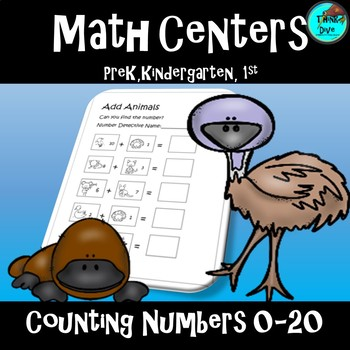 Math Centers Activity Counting Numbers 0-20 - Australian Theme