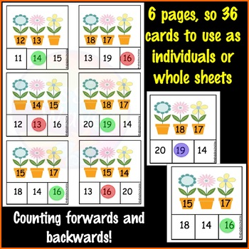 Math Center Activity Counting Numbers 11-20 Missing Number Patterns FLOWER THEME