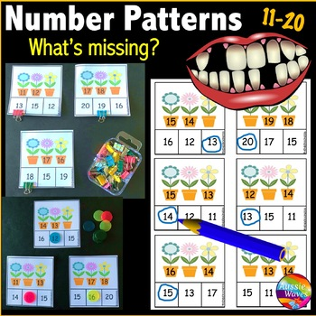 Printable Math Center Activity Numbers 11-20 Missing Numbers Patterns FLOWERS