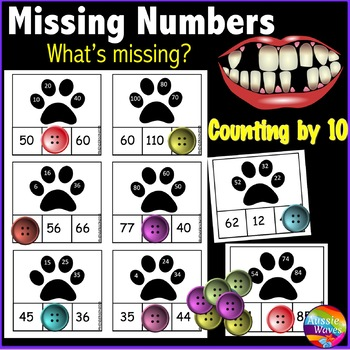 Math Center Activity Counting by 10 Complete Missing Numbe