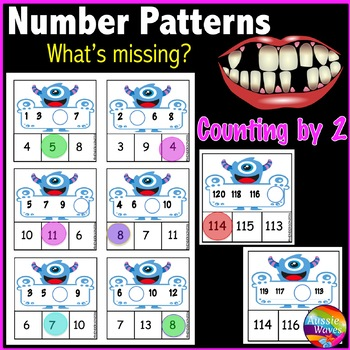Math Center Activity Counting by 2 Complete Missing Numbers Patterns