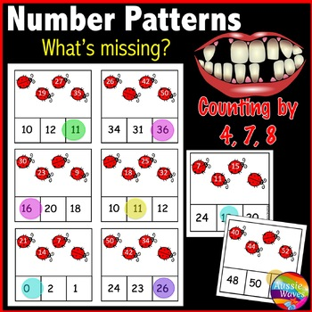 Math Center Activity Skip Counting by 4 7 & 8 Complete Mis