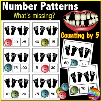Counting by FIVES a Math Center Activity to complete missing Numbers & Patterns