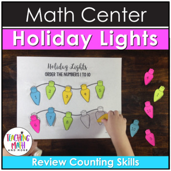 Math Center Activity Holiday Lights with Numbers