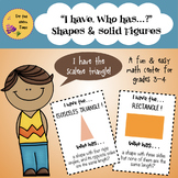 """Math Center Activity-""""I have, who has"""" 21 Fun Cards- Shape"""