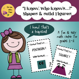 """Math Center Activity-""""I know, who knows"""" 16 Fun Cards- Shapes and Solid Figures"""