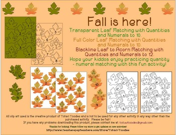 Math Center Activity - Quantity to Numeral - Leaves * Acorns