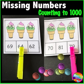 Math Center Activity Sorting Counting Numbers to 1000 Missing Number Patterns