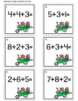Math Center: Adding and Subtracting 3 Numbers