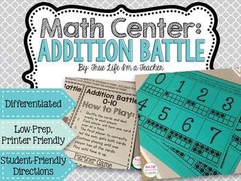 Math Center - Addition Battle