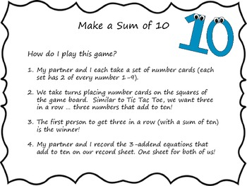 Math Center Addition Game: Make a Sum of 10