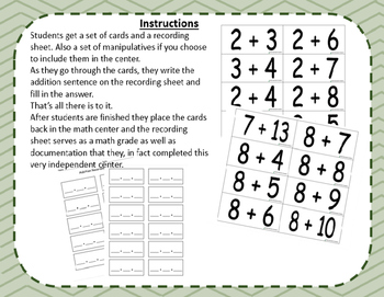 Math Center: Addition Task Cards - Addition to 20