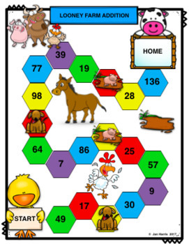 Math Center Addition and Subtraction Board Games & Worksheets