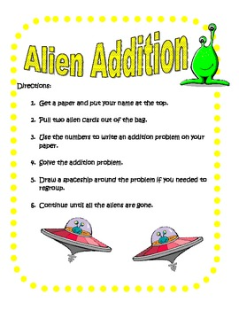 Math Center - Alien Addition (Two and Three Digit Addition)