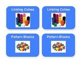 Math Center Bin Labels