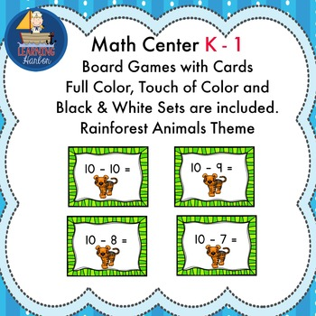 Math Center Board Games Subtract Within 10 Rainforest Animals Theme