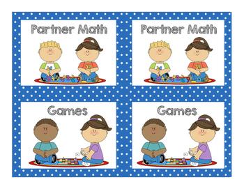 Math Center Cards