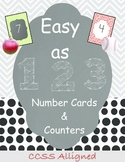 Math Center Cards & Counters for the Year CCSS Aligned K.C