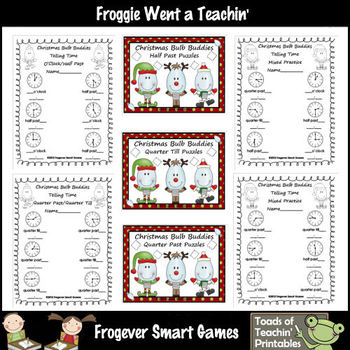 Time--Christmas Bulb Buddies Time Puzzles