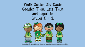 Math Center Clip Cards, Greater Than, Less Than, Equal To