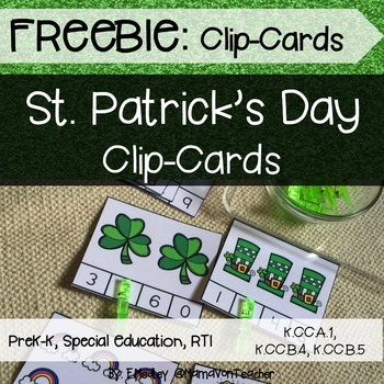 Math Center: Clip Cards, Numbers 1-20, St. Patrick's Day