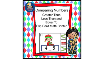 Math Center Comparing Numbers Less Than Greater Than or Equal To Elf Theme