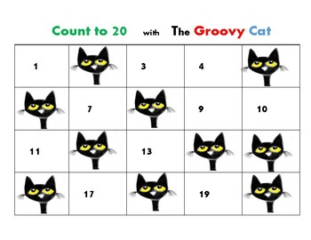 Math Center Count to 20 Sequence Numbers to 20 Game:  Groovy Cat  K.CC.1