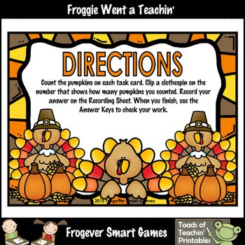 Math Center--Counting 1-20 (Thanksgiving Theme)