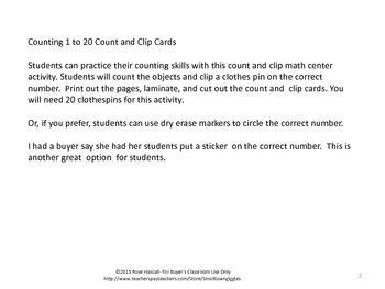 Robots Counting to 20, Count and Clip, Kindergarten Math, Special Education Math