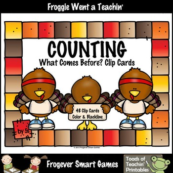 Math Center--Counting by 5s What Comes Before? (Thanksgiving Theme)
