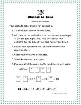 Math Center Decimal Game 4th 5th 6th