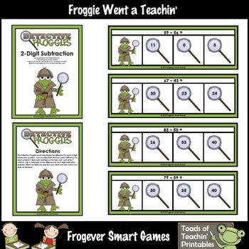 Math Center -- Detective Froggies (2-Digit Subtraction without Regrouping)