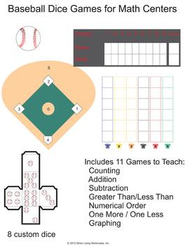 Math Center Dice Games With a Baseball Theme