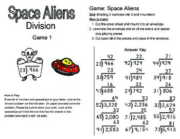 Math Center - Division Center Activity for up to 4 children.