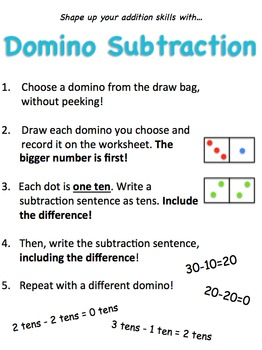 Math Center-Domino Subtraction With Tens