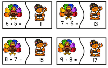 Thanksgiving Math Center with Puzzles for Doubles and Near Doubles