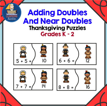 Thanksgiving Math Center with Puzzles for Doubles and Near