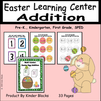 Math Center: Easter Egg Addition Sums 1 - 20