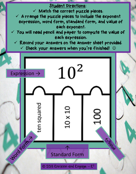 Math Center Exponents Differentiated for Middle School